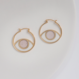 Gold third eye hoops - pink and white