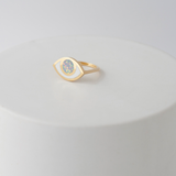 Gold third eye ring -opal