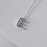 Silver multi inlay letter charm