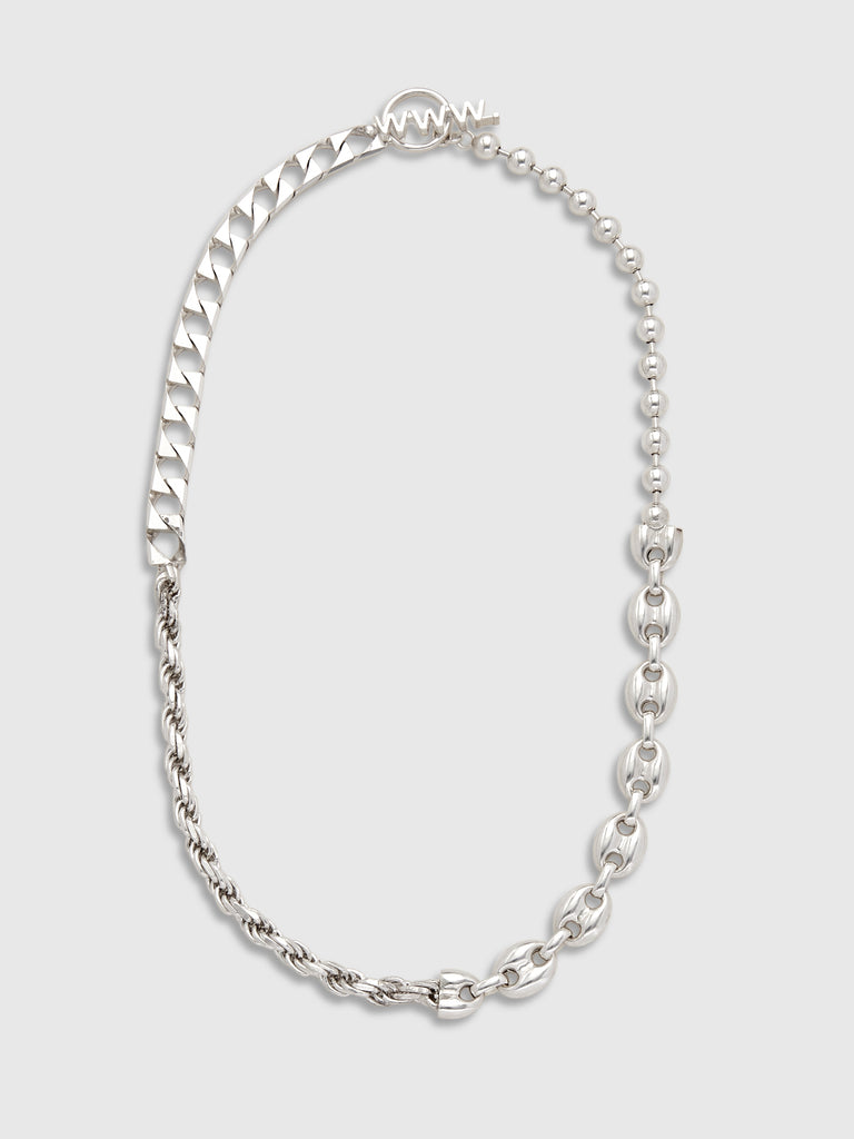 "Willshott Silver Mixed Chains 18"" Necklace"
