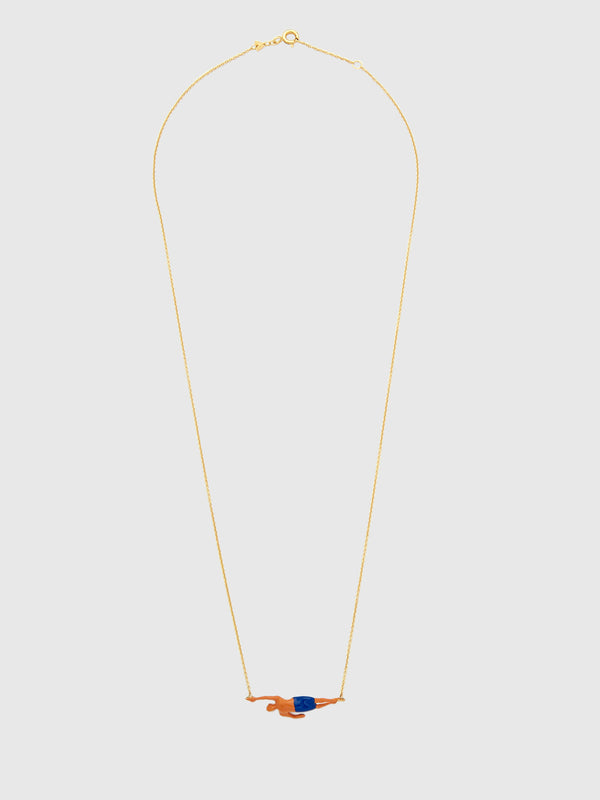 Navy Shorts Swimmer Necklace