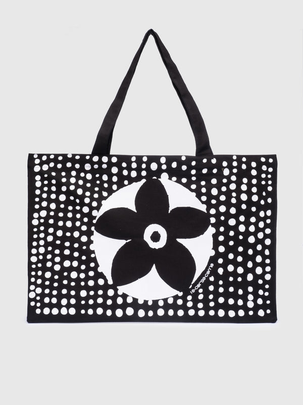White Dot Black Flower Tote - 10 Corso Como New York