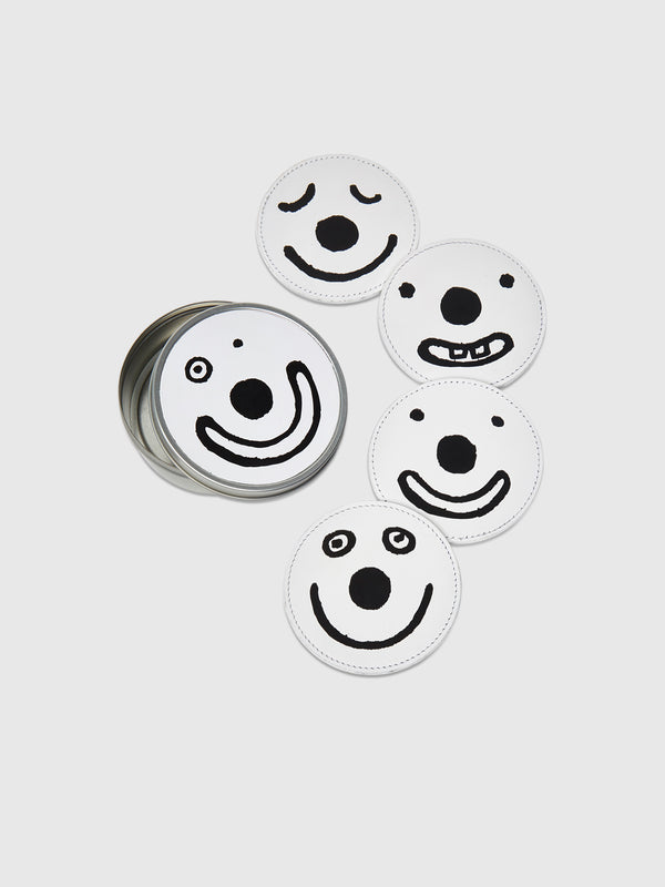 White Smiley Coasters