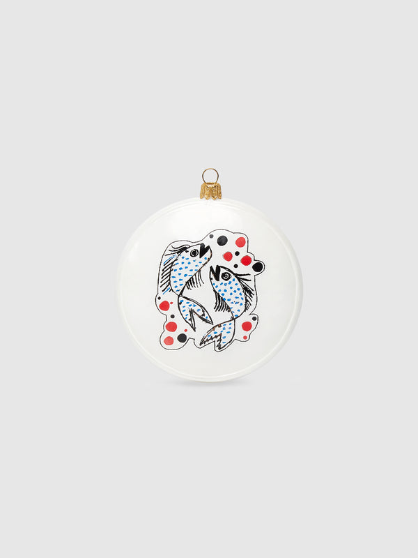 Apple and Fish Disk Ornament