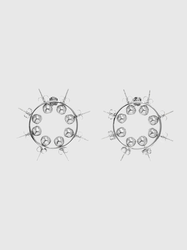 SIlver Wheel Hoop Earrings - 10 Corso Como New York