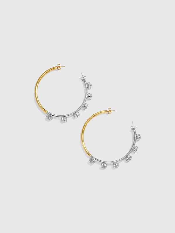 Vice Versa Gold and SIlver Crystal Hoop Earrings - 10 Corso Como New York