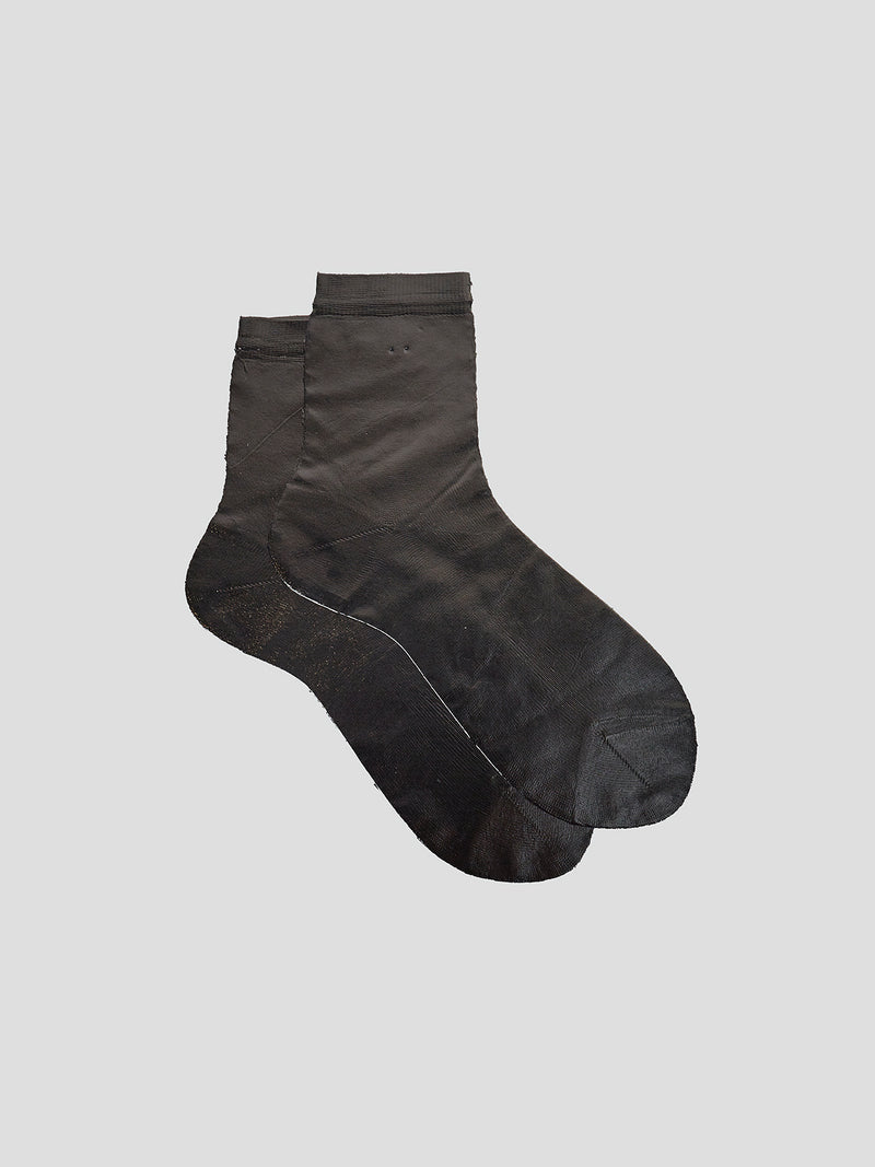 Metallic Laminated Short Sock Black - 10 Corso Como New York