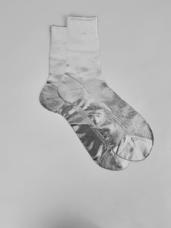 Metalic Laminated Short Sock Silver - 10 Corso Como New York