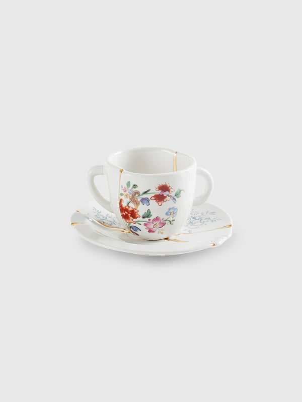 Floral Kintsugi Doublehandle Coffe Cup with Saucer by Marcantonio
