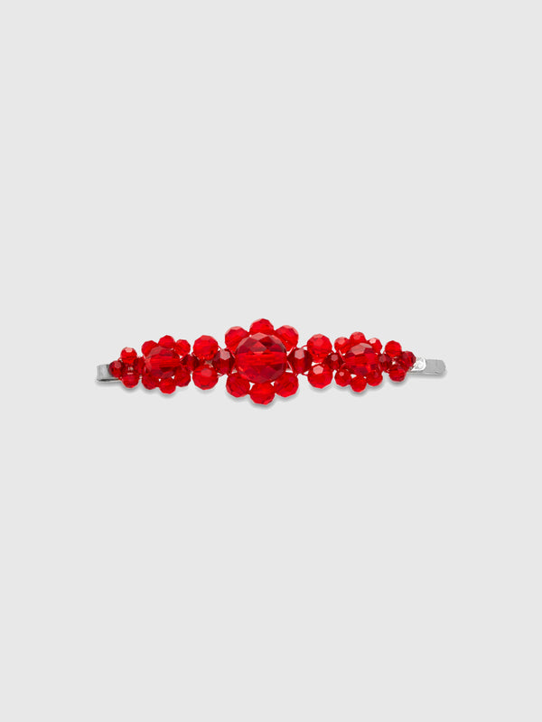 Large Red Crystal Flower Hair Clip - 10 Corso Como New York