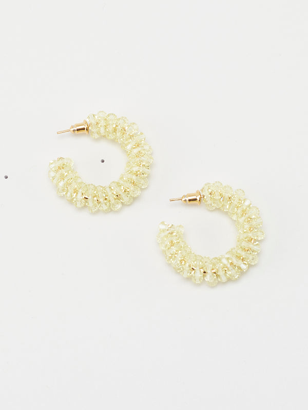 Small Beaded Hoops  Light Yellow - 10 Corso Como New York