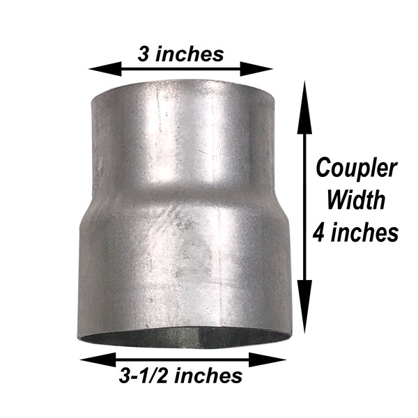 "Exhaust Reducer Pipe Adaptor 3"" ID to 3.5"" ID Aluminized Steel"