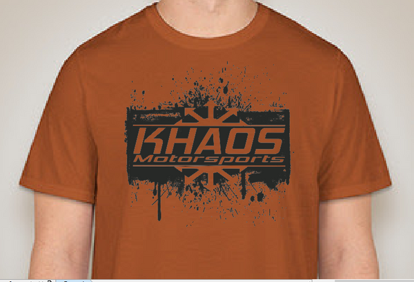 Khaos Motorsports Logo T-Shirt Splatter Orange and Black