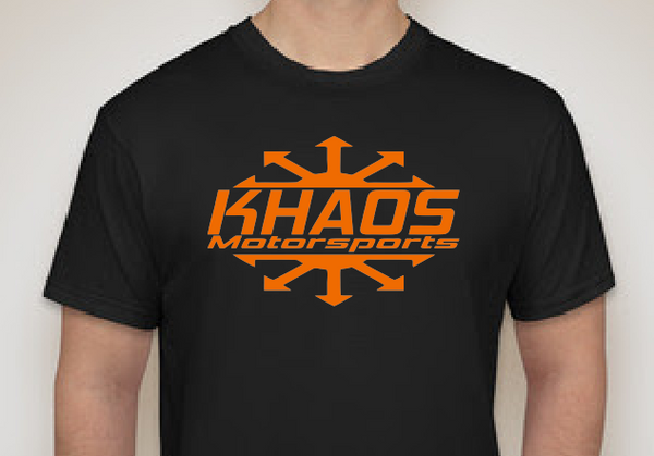 Khaos Motorsports Logo T-Shirt Black and Orange