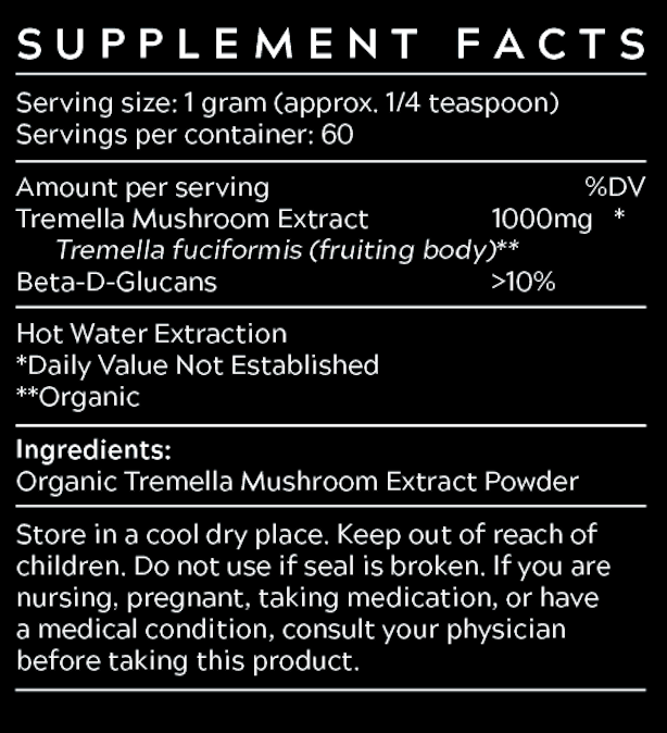 Tremella mushroom extract from Best Health Co Supplement Facts