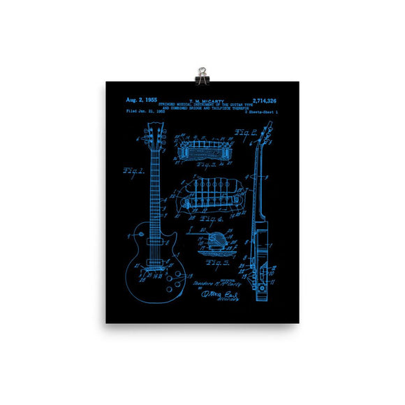 1955 LP Electric Guitar Patent Print in Blue/Black - shop.AxeDr.com - Best Band T-Shirts, Vintage Rock and Roll T Shirts, Metal Band T-Shirts, Punk T Shirts - [product_type]