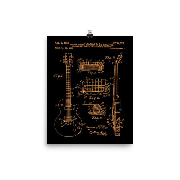 1955 LP Electric Guitar Patent Print in Orange/Black - shop.AxeDr.com - Best Band T-Shirts, Vintage Rock and Roll T Shirts, Metal Band T-Shirts, Punk T Shirts - [product_type]