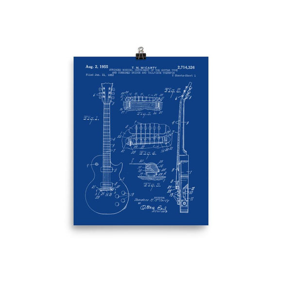1955 LP Electric Guitar Patent Print in Whie/Blue - shop.AxeDr.com - Best Band T-Shirts, Vintage Rock and Roll T Shirts, Metal Band T-Shirts, Punk T Shirts - [product_type]