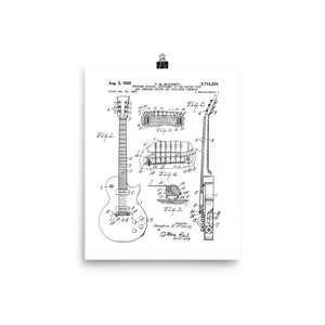 1955 LP Electric Guitar U.S. Patent Poster - shop.AxeDr.com - Best Band T-Shirts, Vintage Rock and Roll T Shirts, Metal Band T-Shirts, Punk T Shirts - [product_type]