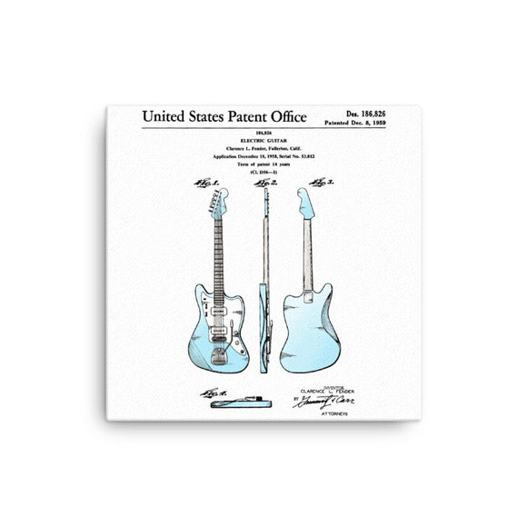 1959 Offset Guitar U.S. Patent Canvas On Wood Frame Print - shop.AxeDr.com - Best Band T-Shirts, Vintage Rock and Roll T Shirts, Metal Band T-Shirts, Punk T Shirts - [product_type]