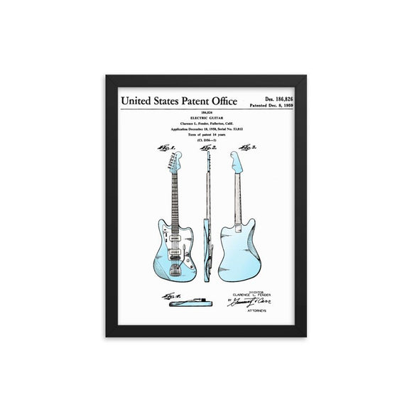 1959 Offset Guitar U.S. Patent (Filed in 1959) Framed Poster - shop.AxeDr.com - Best Band T-Shirts, Vintage Rock and Roll T Shirts, Metal Band T-Shirts, Punk T Shirts - [product_type]