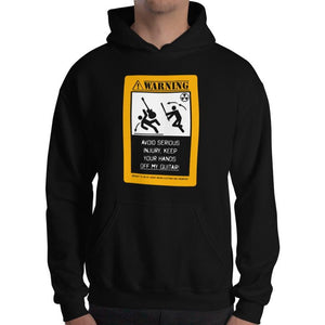"Axe Dr. ""Warning, Avoid Serious Injury"" Funny Guitar Hoodie - shop.AxeDr.com - Best Band T-Shirts, Vintage Rock and Roll T Shirts, Metal Band T-Shirts, Punk T Shirts - [product_type]"
