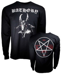 Bathory White Goat Long Sleeve T-Shirt - shop.AxeDr.com - Best Band T-Shirts, Vintage Rock and Roll T Shirts, Metal Band T-Shirts, Punk T Shirts - Men's T-Shirts