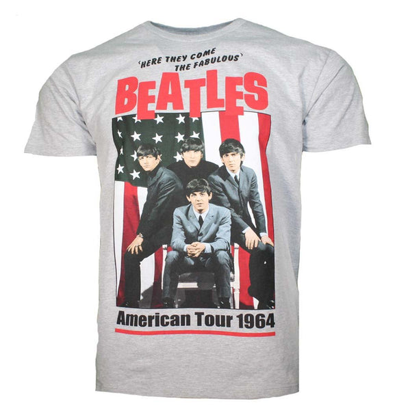 Beatles American Tour 1964 Gray T-Shirt - shop.AxeDr.com - Best Band T-Shirts, Vintage Rock and Roll T Shirts, Metal Band T-Shirts, Punk T Shirts - Men's T-Shirts