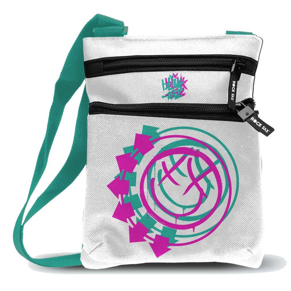 Blink 182 Smiley White Body Bag - shop.AxeDr.com - Best Band T-Shirts, Vintage Rock and Roll T Shirts, Metal Band T-Shirts, Punk T Shirts - Messenger Bags