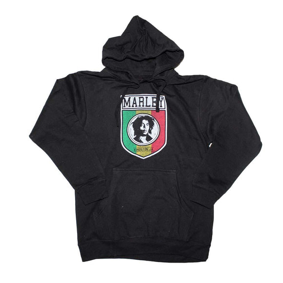 Bob Marley Kingston Shield Pullover Hoodie Sweatshirt - shop.AxeDr.com - Best Band T-Shirts, Vintage Rock and Roll T Shirts, Metal Band T-Shirts, Punk T Shirts - Men's Sweatshirts