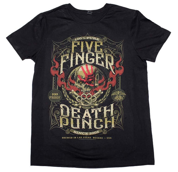 Five Finger Death Punch 100 Proof T-Shirt - shop.AxeDr.com - Best Band T-Shirts, Vintage Rock and Roll T Shirts, Metal Band T-Shirts, Punk T Shirts - Men's T-Shirts