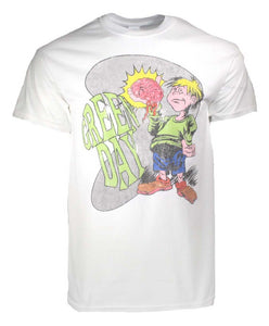 Green Day Brain Boy White T-Shirt - shop.AxeDr.com - Best Band T-Shirts, Vintage Rock and Roll T Shirts, Metal Band T-Shirts, Punk T Shirts - Men's T-Shirts