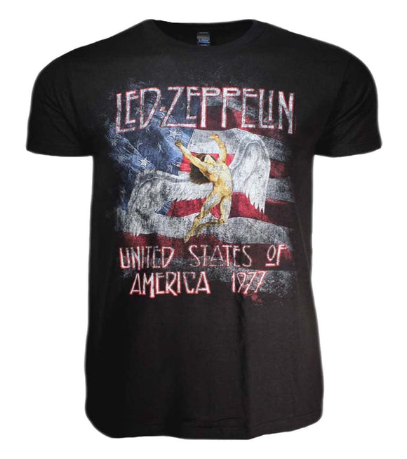 Led Zeppelin USA 77 with Flag T-Shirt - shop.AxeDr.com - Best Band T-Shirts, Vintage Rock and Roll T Shirts, Metal Band T-Shirts, Punk T Shirts - Men's T-Shirts