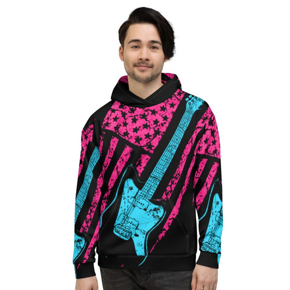 Neon Americana J-Master All-Over-Print Guitar Hoodie by AxeDr.