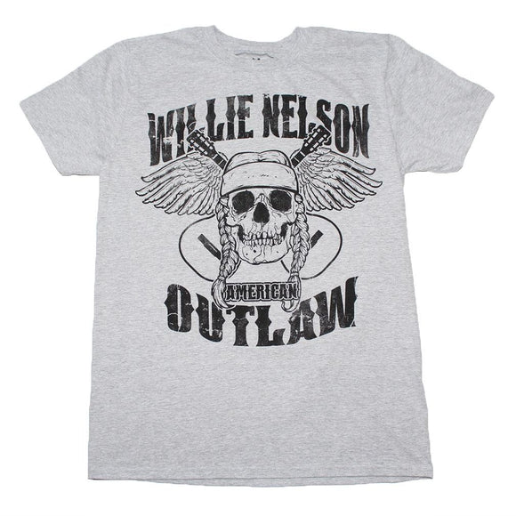 Willie Nelson Outlaw Skull T-Shirt - shop.AxeDr.com - Best Band T-Shirts, Vintage Rock and Roll T Shirts, Metal Band T-Shirts, Punk T Shirts - Men's T-Shirts