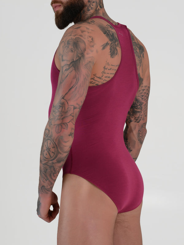 Men's red modal bodysuit leotard