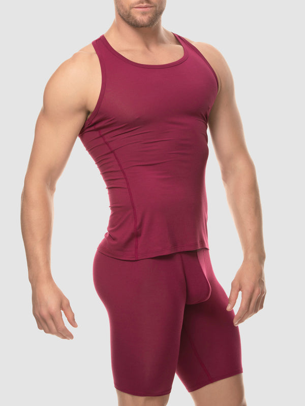 men's red modal tank top
