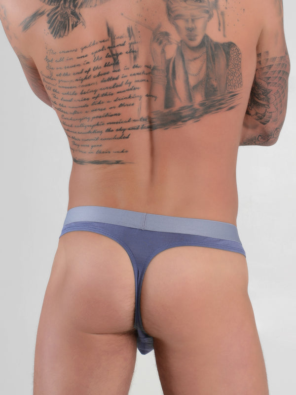 Men's Logo Band Thong Underwear - Slate
