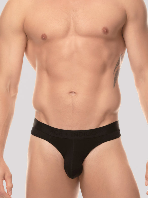 men's black modal logo band thong underwear