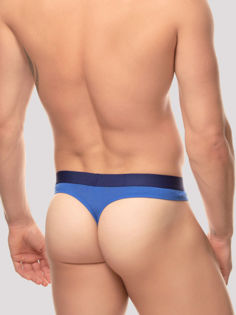 men's blue modal logo band thong underwear