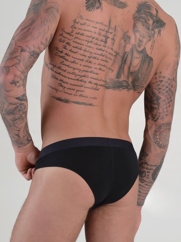 men's black modal logo band brazilian cut briefs