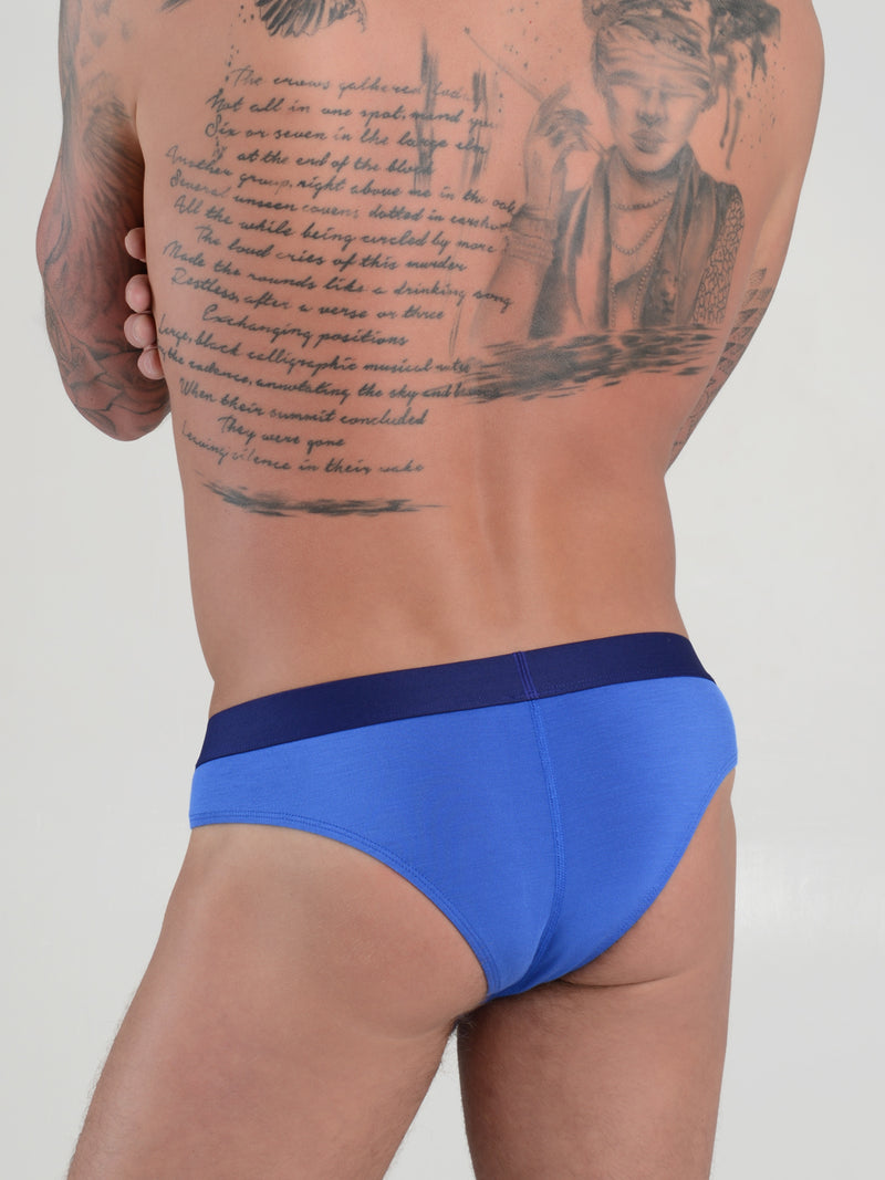 men's blue modal brazilian cut bikini briefs