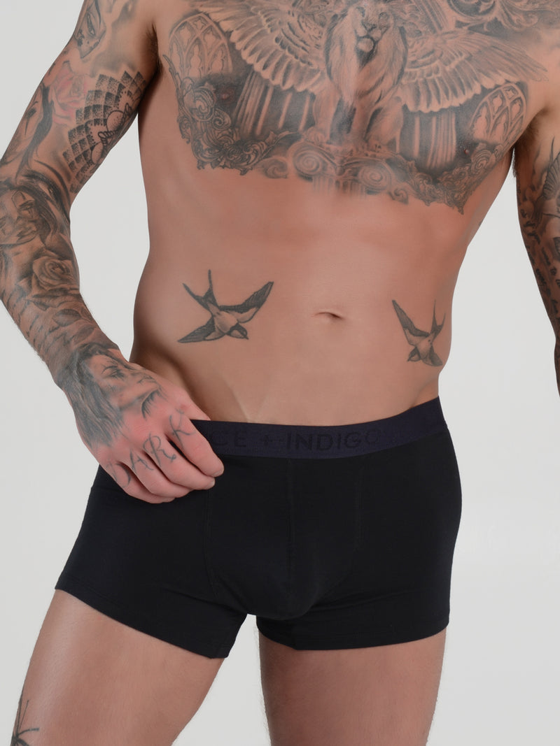 men's black modal logo band trunk boxers