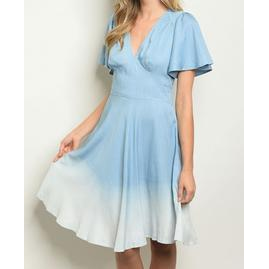 1f3f4ce1103 Blue Ombre Denim Look Spring Summer Dress Back Tie Sizes S