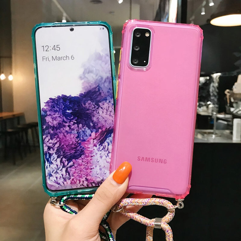 Colored Samsung Galaxy A Case with Braided Lanyard Strap