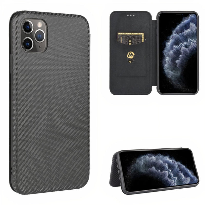 iPhone Magnetic Carbon Fiber Style Flip Case
