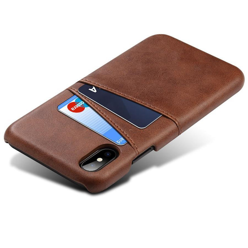 coque iphone portefeuille brun