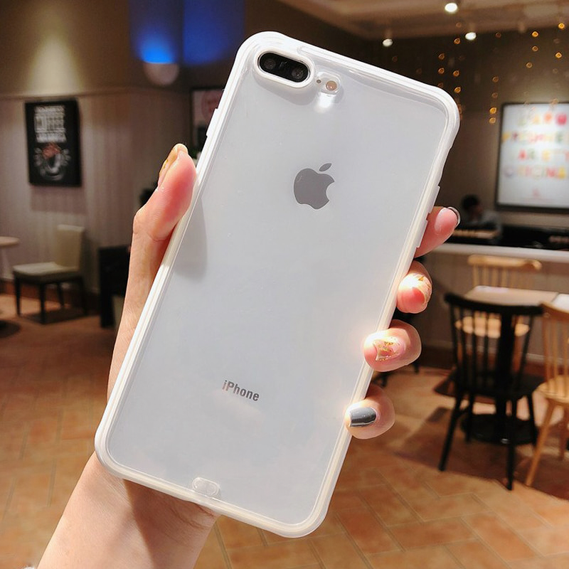 Transparent iPhone Case with Solid Borders