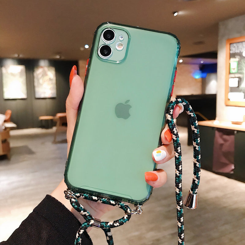 Colored iPhone Case with Braided Lanyard Strap