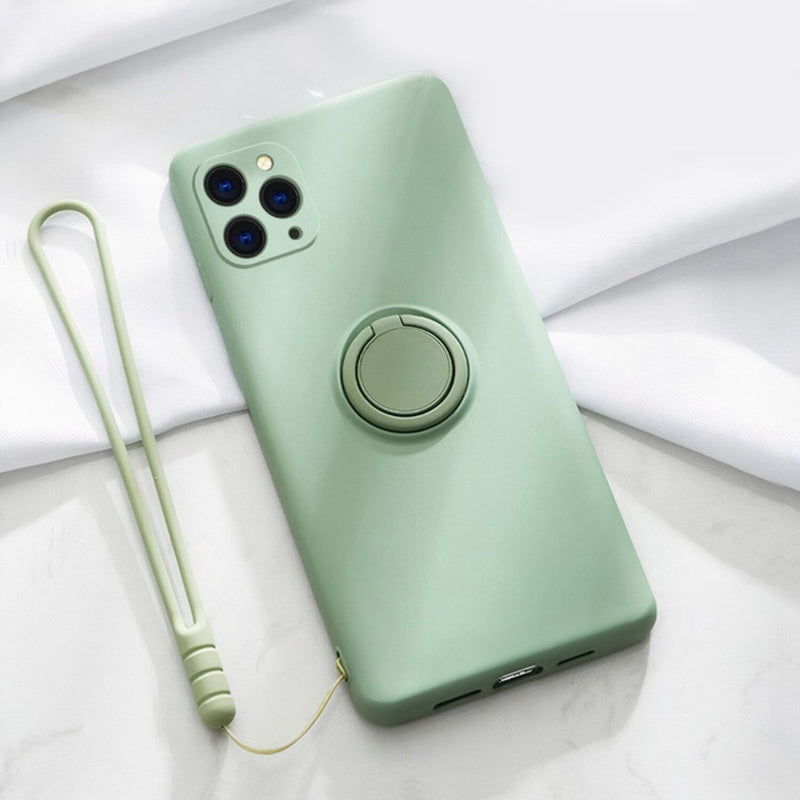 Soft Silicone iPhone Case with Ring Stand